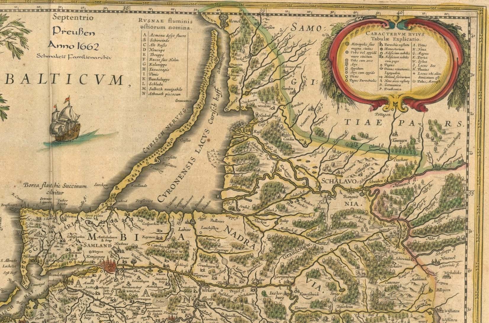 Die karte des familienursprungs gebietes ostpreußen 1662